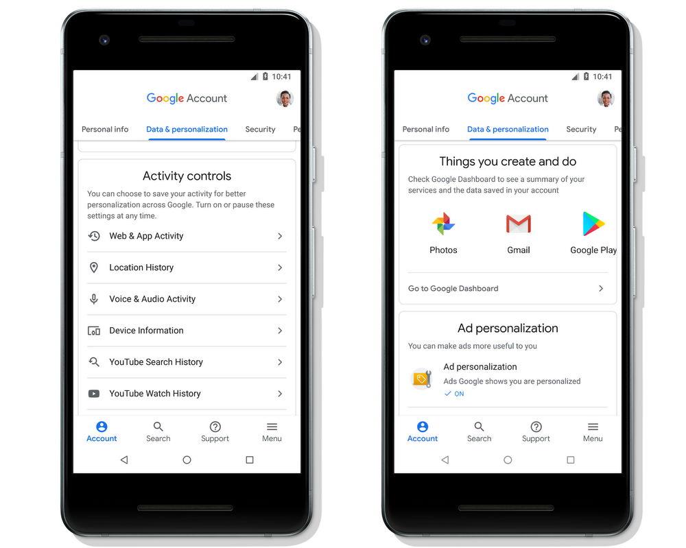 Control de la actividad en Cuenta de Google (Google Account) para Android