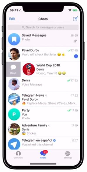 Marcando los mensajes como leídos o no leídos en Telegram para móvil