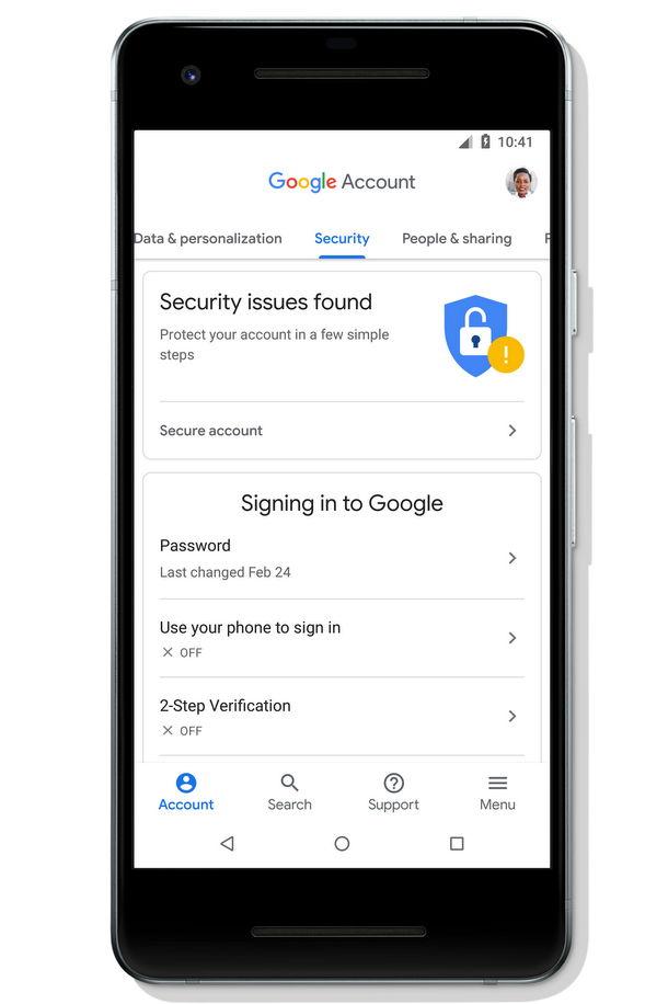 Avisos mas prominentes en Cuenta de Google (Google Account) para Android