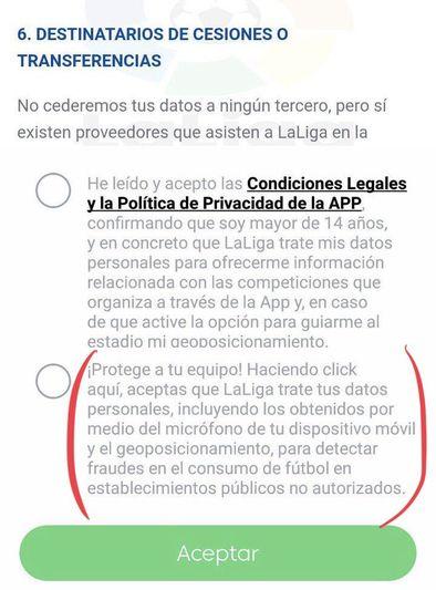 Aviso de la aplicación oficial de LaLiga sobre los datos recopilados