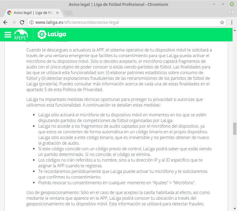 Aviso legal sobre los datos recopilados por la aplicación oficial de LaLiga