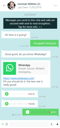 Aplicación Universal Windows Platform de WhatsApp
