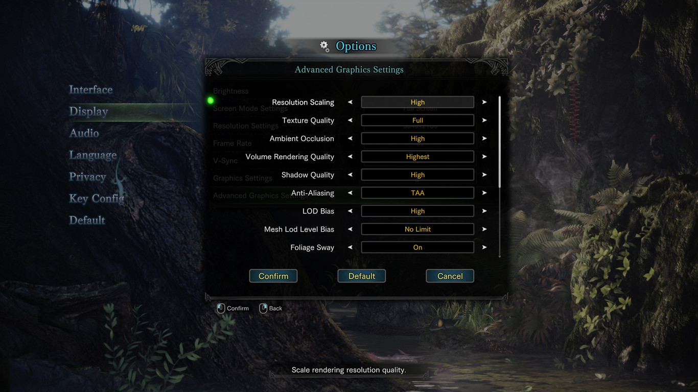 Monster Hunter World PC Opciones