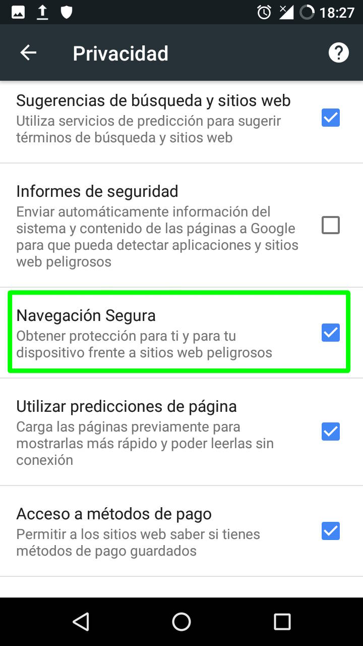 Navegación segura en Google Chrome para Android
