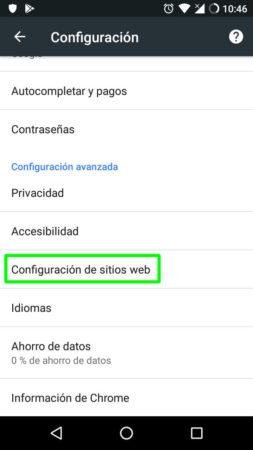 Configuración de sitios web en Google Chrome para Android
