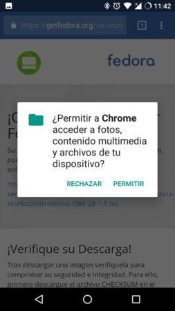 Descargando un fichero en Google Chrome para Android. Pide permisos a nivel del sistema