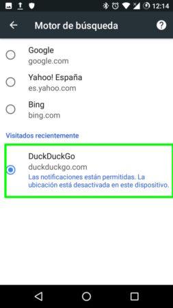 Establecer DuckDuckGo como buscador por defecto en Google Chrome para Android