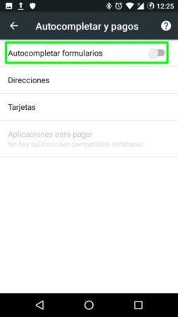 Autocompletado de direcciones y pagos en Google Chrome para Android