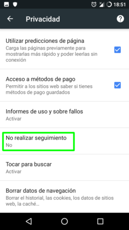 Do Not Track en Google Chrome para Android