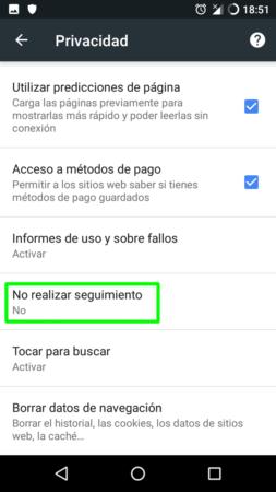 Do Not Track en Google Chrome para Android