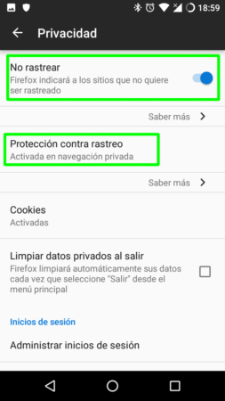 Do Not Track en Firefox para Android