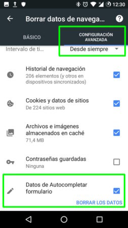 Borrar los datos de autocompletado en Google Chrome para Android