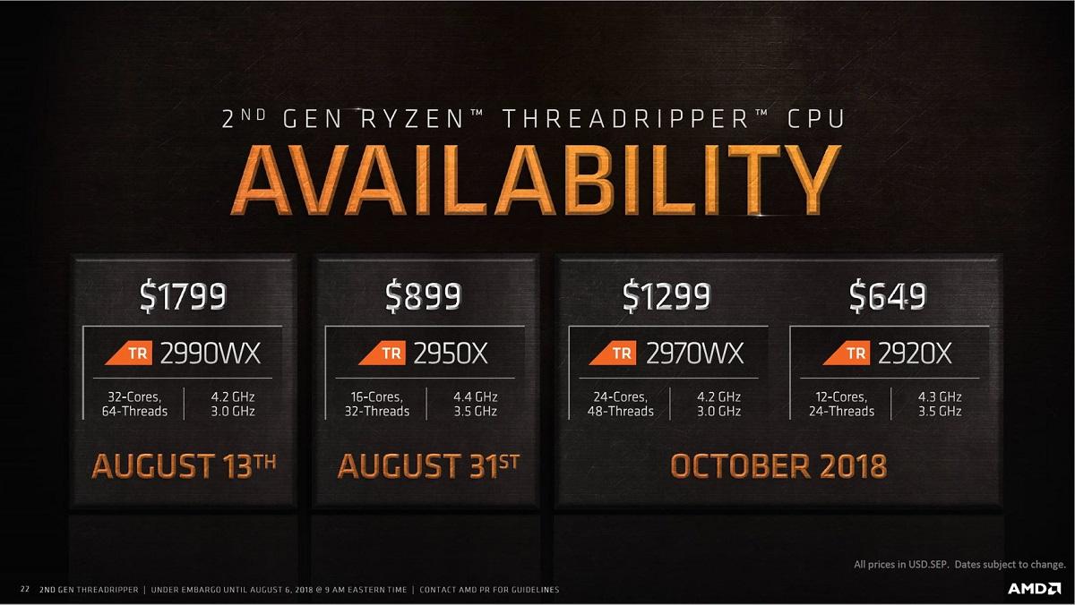 AMD Threadripper 2000: especificaciones, precios y fecha de lanzamiento 37