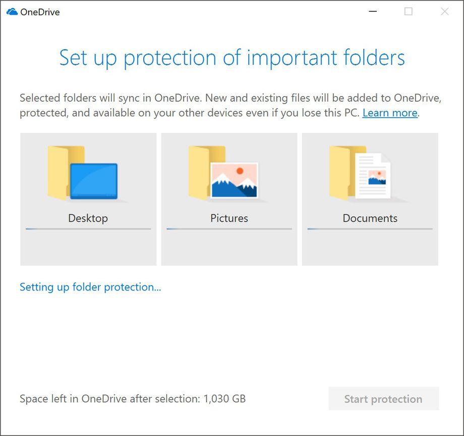 Característica de protección de carpeta de OneDrive y Windows 10