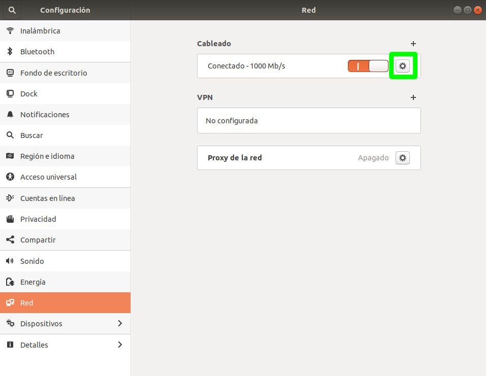 Configuración de la red cableada en Ubuntu 18.04