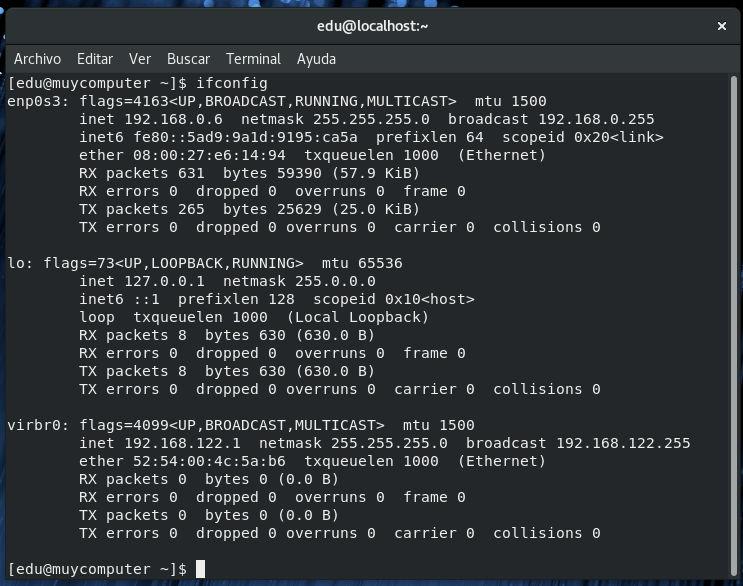 Comprobar la dirección IP local en Fedora 28 desde consola