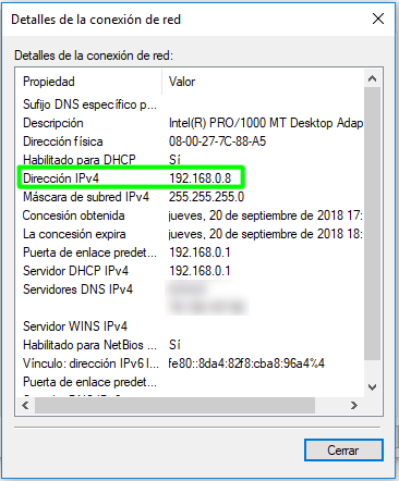 Comprobar la dirección IP local en Windows 10