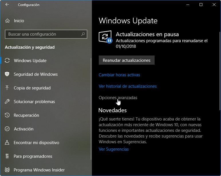 retrasar la actualización a Windows 10 October 2018 Update