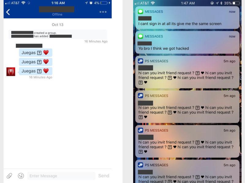 PS4 Bloqueada Mensajes