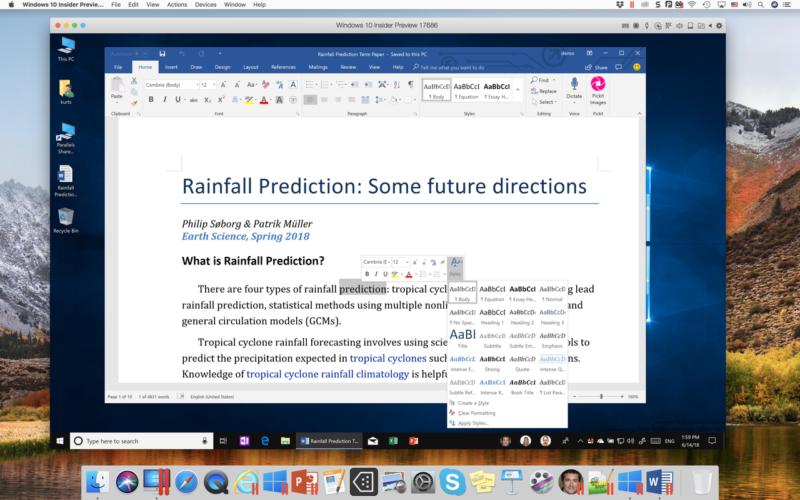 Parallels Desktop 14 Word