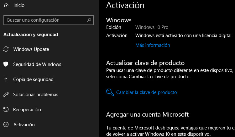 activación de Windows 10