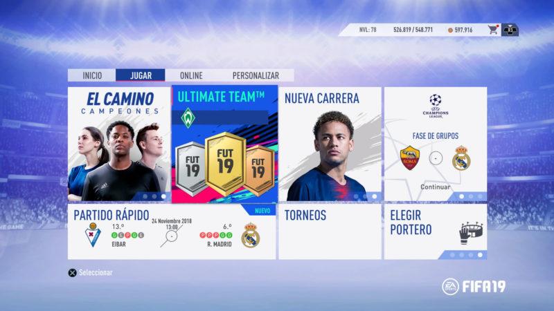 FIFA 19 Menú