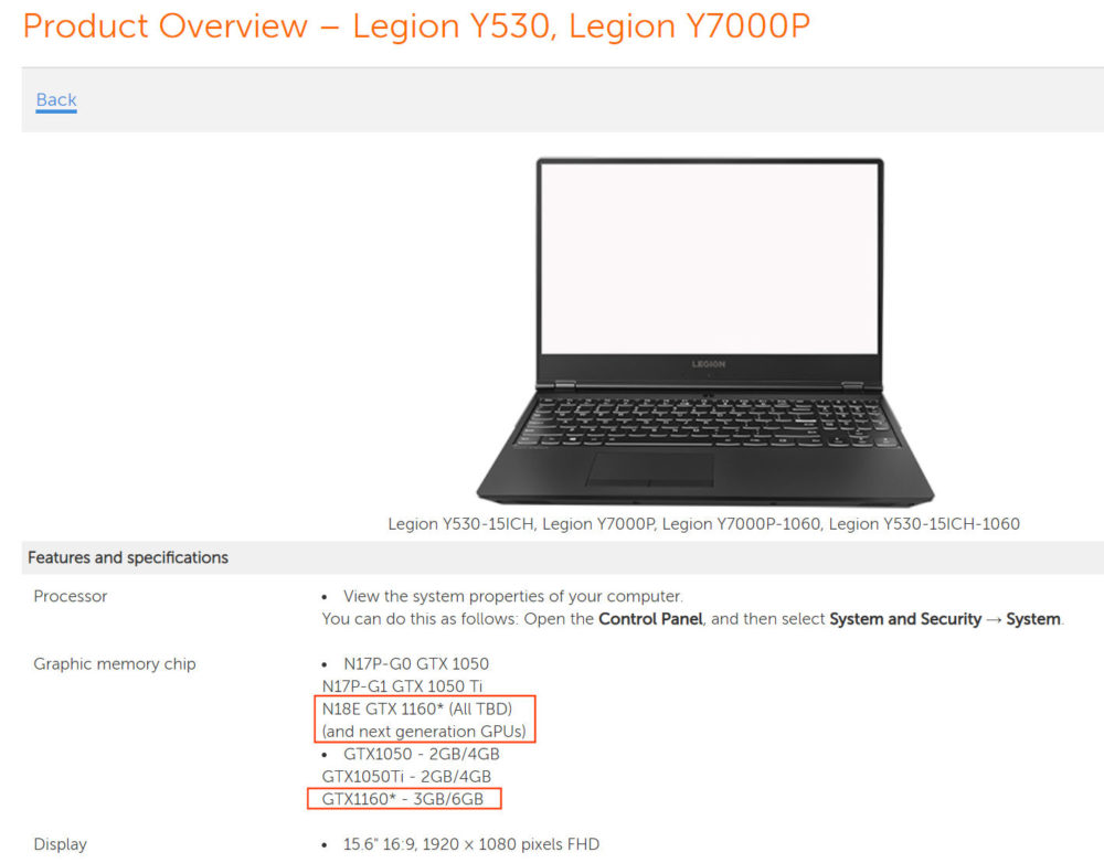 Lenovo confirma las GeForce GTX 1160, habrá versiones de 3 GB y 6 GB 32