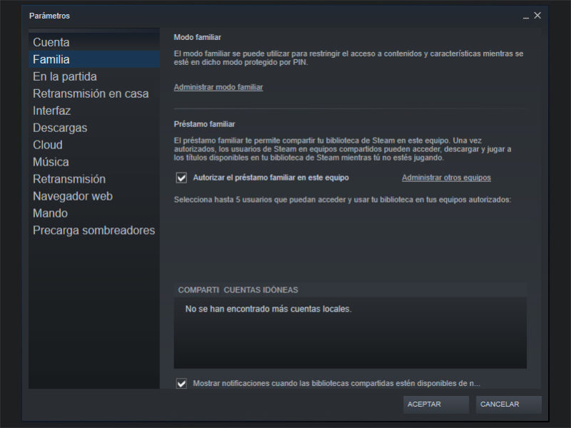 Steam Compartir Biblioteca Familia