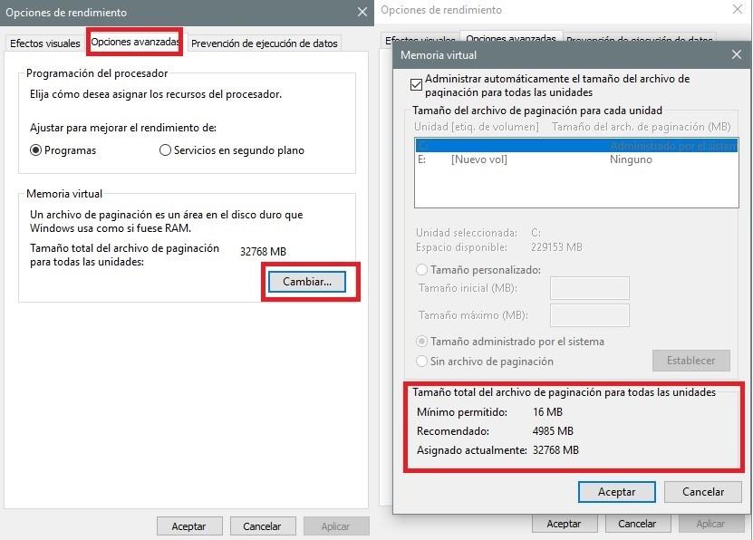 Cómo configurar la memoria virtual en Windows 10 38