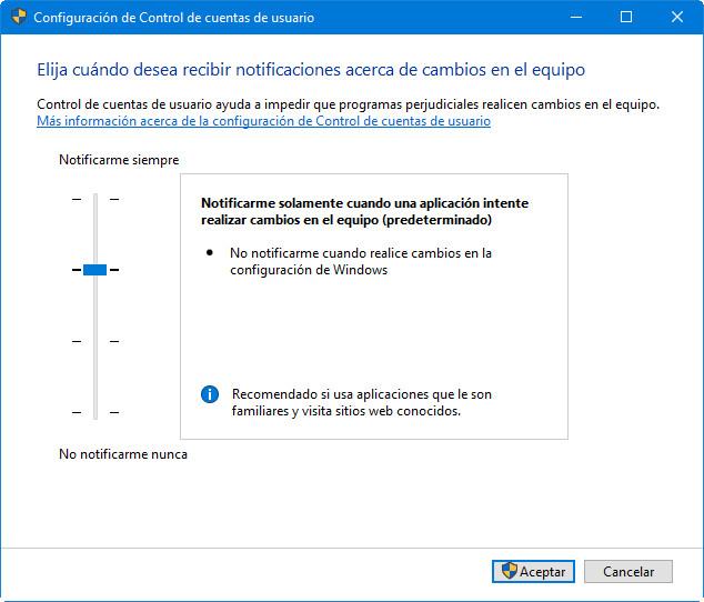 Control de cuentas de usuario en Windows