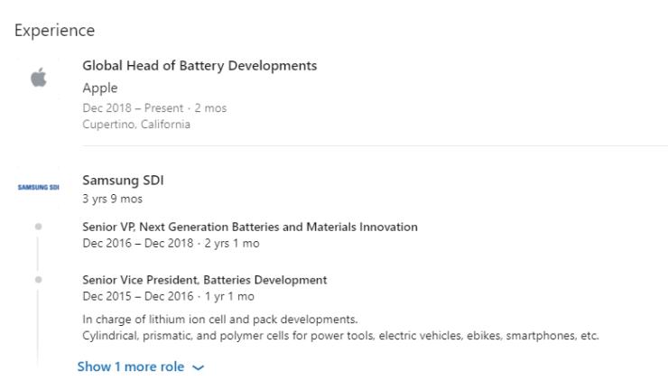 Apple contrata a un exejecutivo de desarrollo de baterías de Samsung