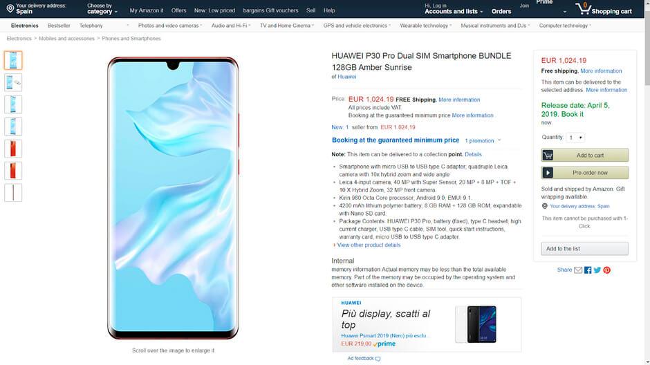 Un error de Amazon revela todos los detalles sobre el Huawei P30 Pro 30