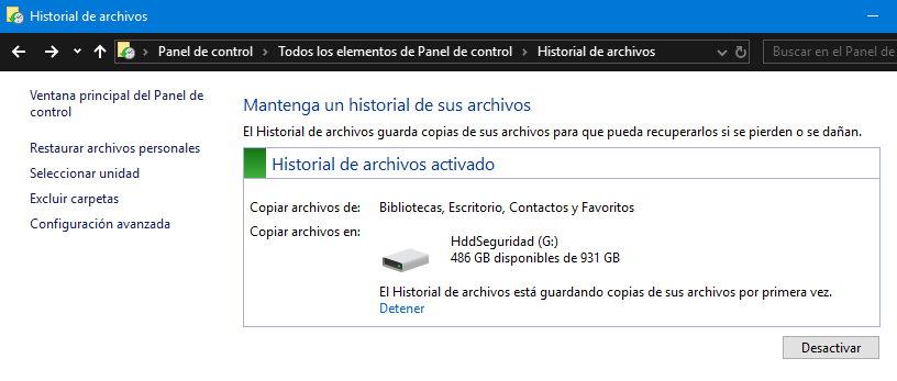 Backup y restauración en Windows