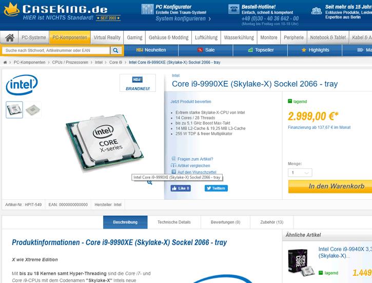 Ya puedes comprar el Core i9-9990XE, 14 núcleos y 28 hilos por 2.999 euros 32