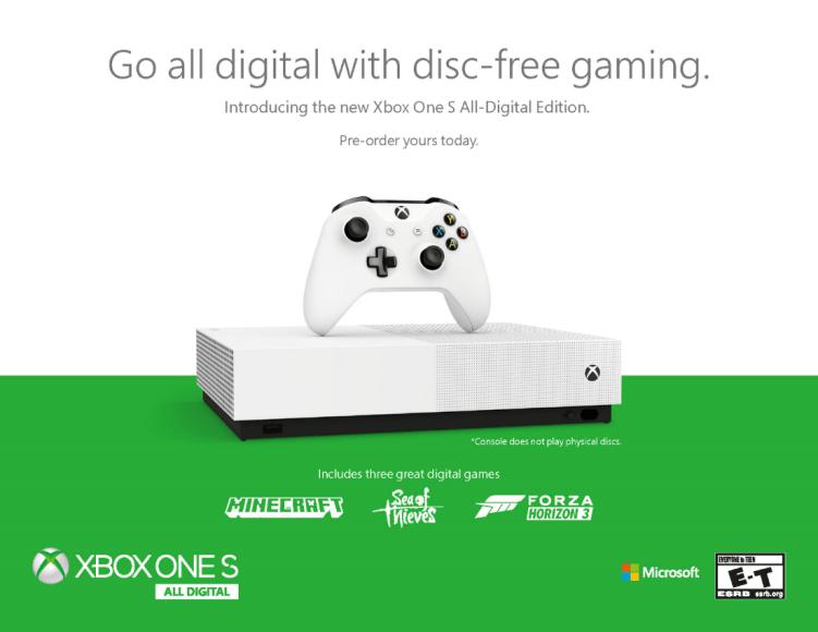 Microsoft anuncia la consola Xbox One S All-Digital Edition 30
