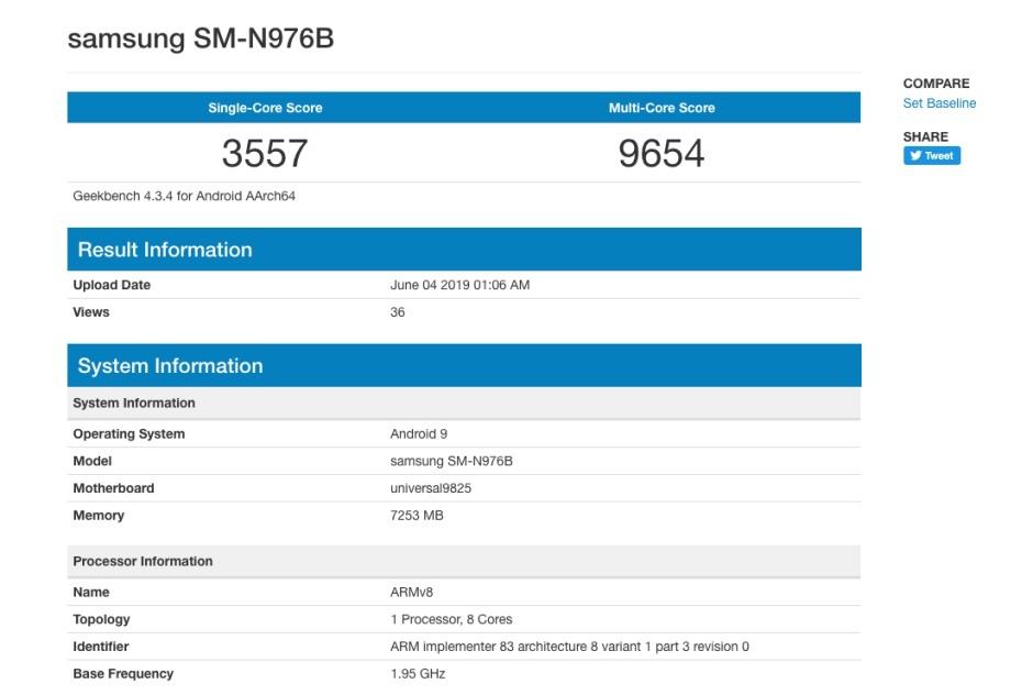 Rendimiento del Galaxy Note 10 en Geekbench 33