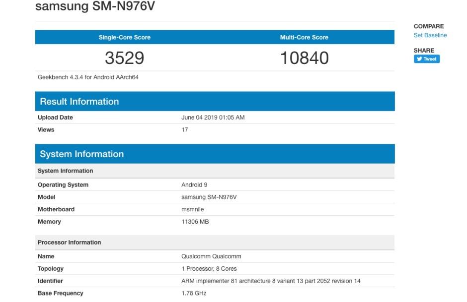 Rendimiento del Galaxy Note 10 en Geekbench 31