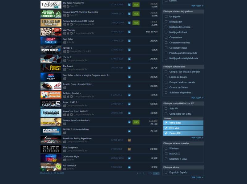Steam Juegos VR