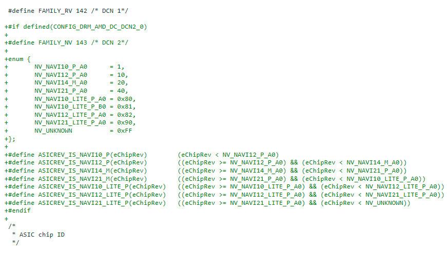 Trozo de código de AMDGPU (Linux) que hace referencia a las nuevas gráficas Radeon
