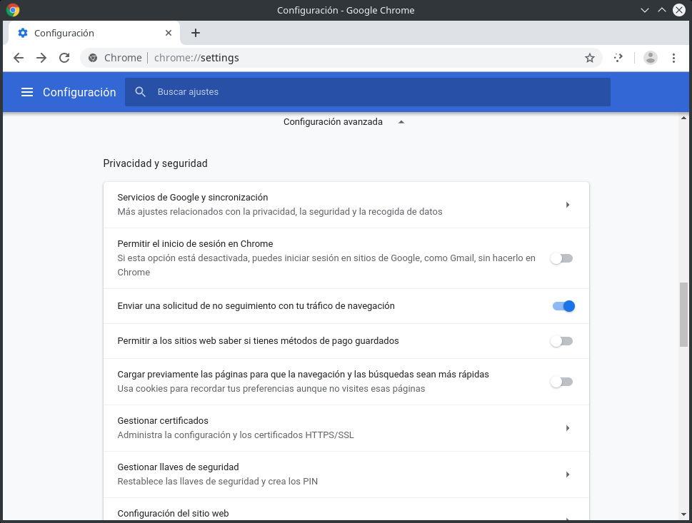 Privacidad y seguridad de Chrome