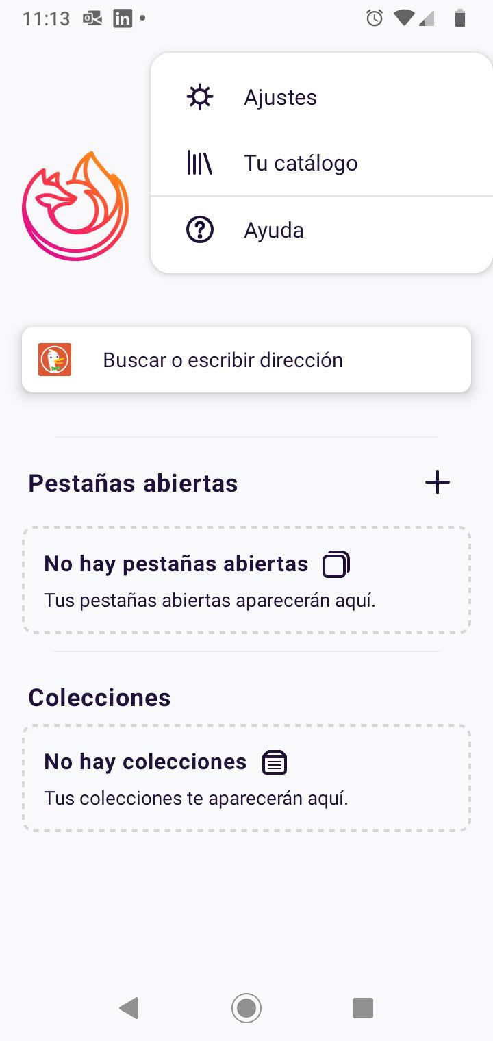 Ajustes y Catálogo en Firefox Fenix para Android