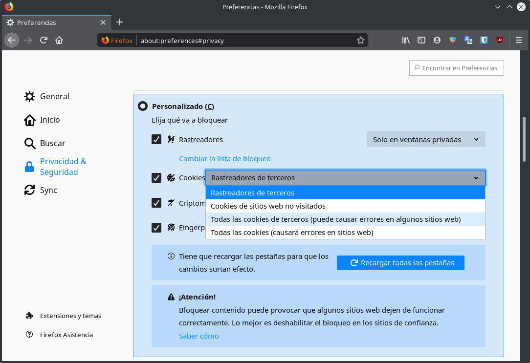 Bloquear las cookies de terceros en Mozilla Firefox