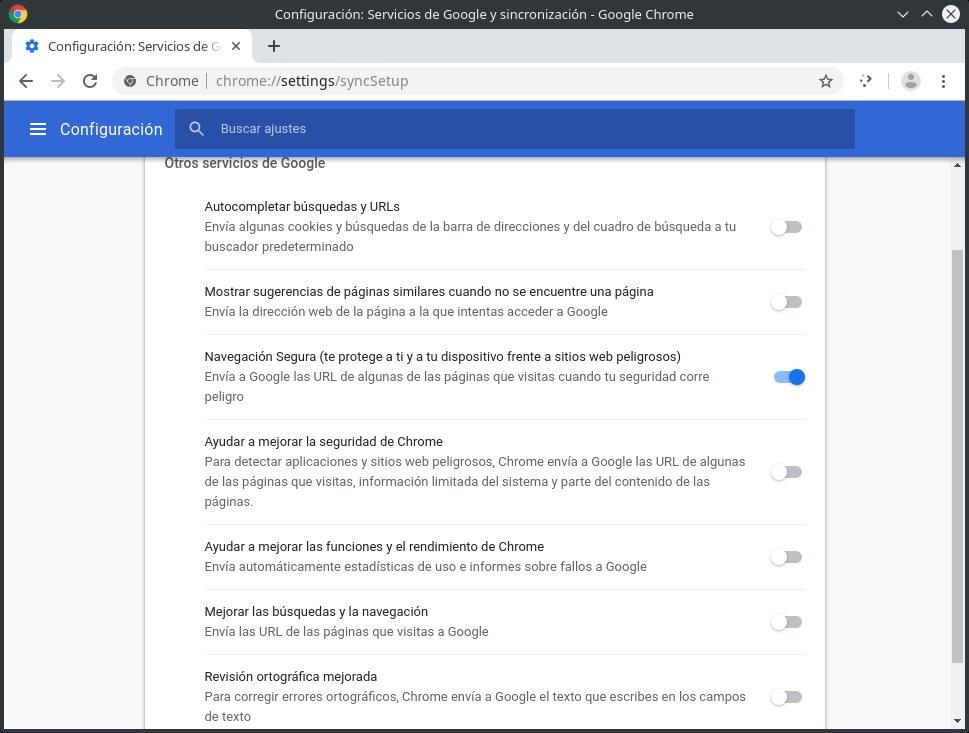 Configuración de otros servicios de Google en Chrome (privacidad de Chrome)