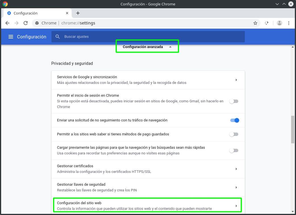 Accediendo a la configuración avanzada de Google Chrome