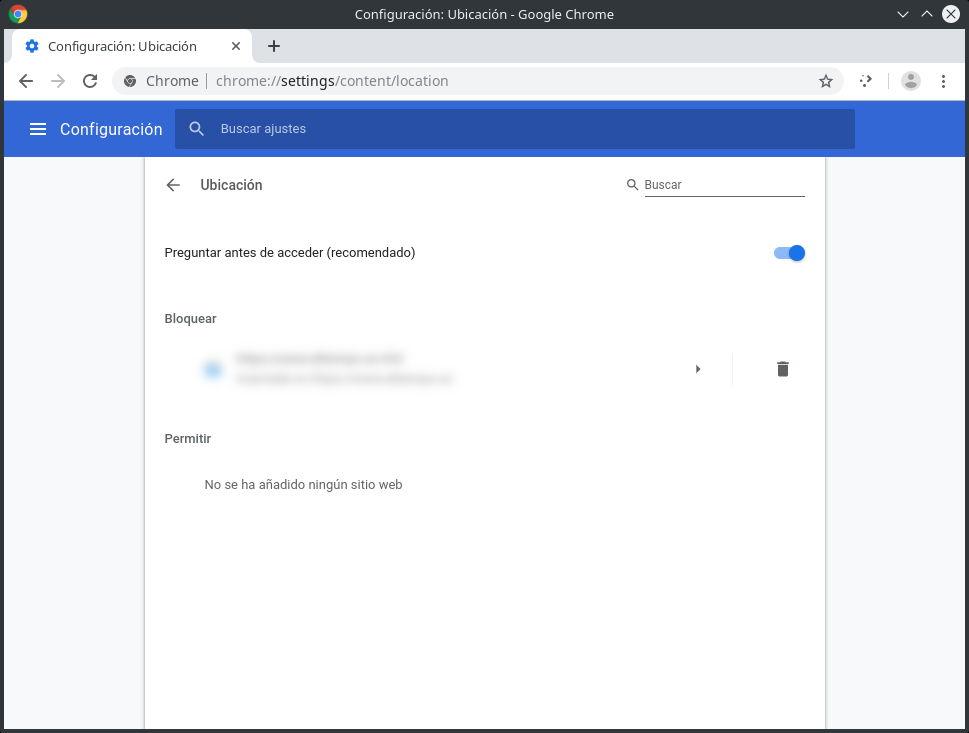 Sitios web con la compartición de la ubicación denegada en Google Chrome