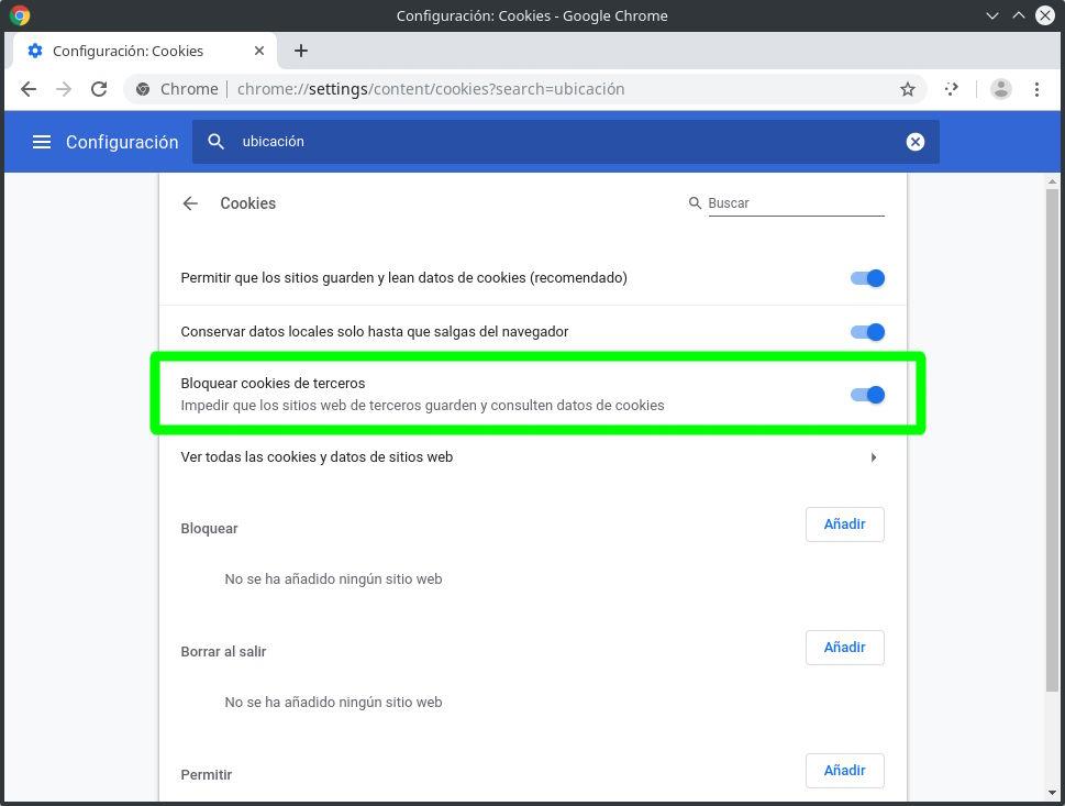 Bloquear las cookies de terceros en Google Chrome