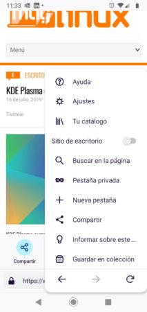 Menú de opciones con la pestaña activa de Firefox Fenix para Android