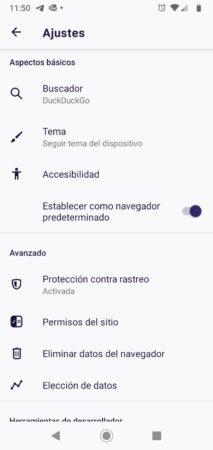 Ajustes (configuración) de Firefox Fenix para Android