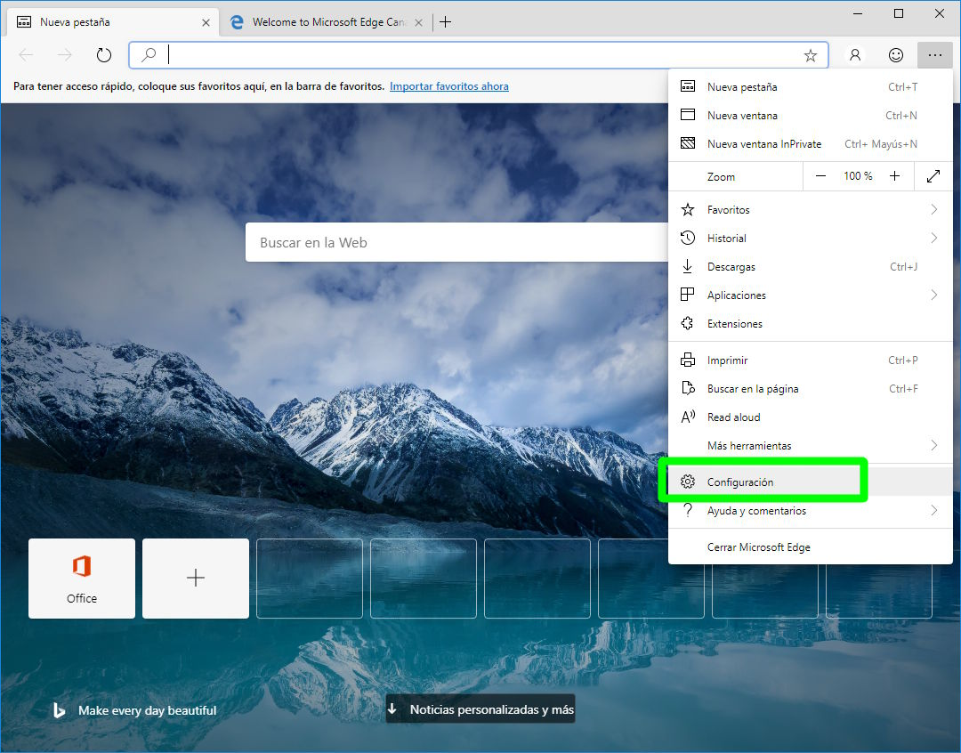 Accediendo a la configuración de Microsoft Edge Chromium