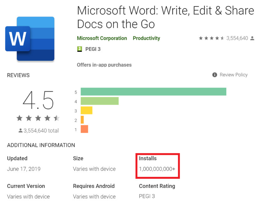 Microsoft Word para Android supera los 1.000 millones de descargas
